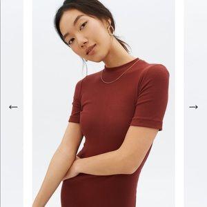 KOTN burgundy knee-length mock neck dress